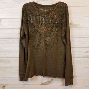 Long sleeve men's Affliction thermal shirt size L